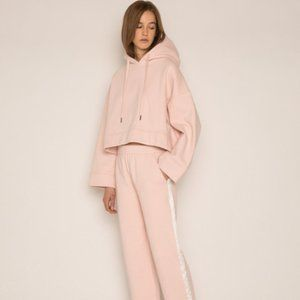 Oak + Fort Pink Oversized Cropped Hoodie XS